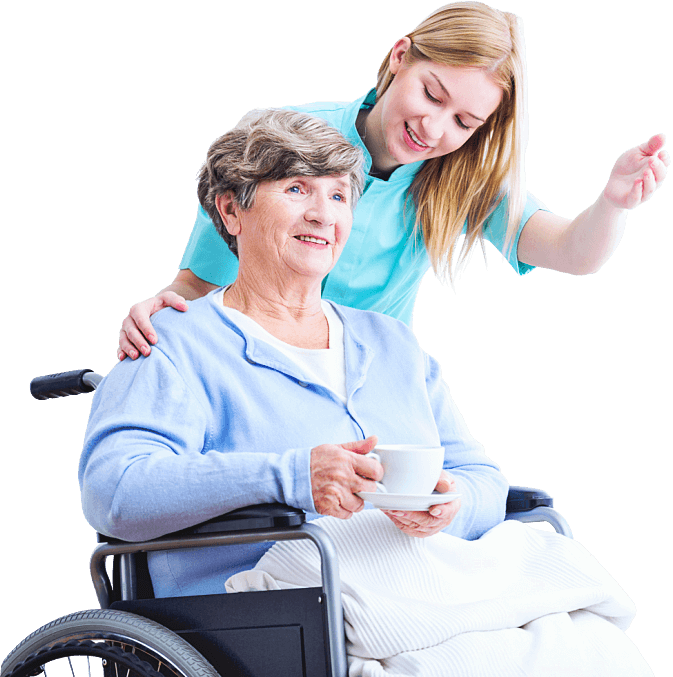caregiver and elder woman looking at something