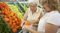 caregiver and patient buying foods